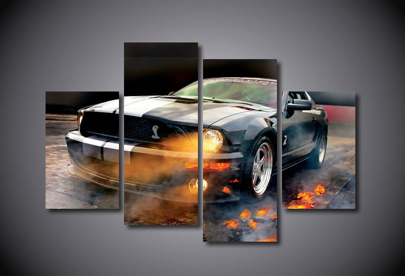 Hd Printed Ford Mustang Shelby Painting On Canvas Room Decoration Print Poster Picture Canvas Framed Free
