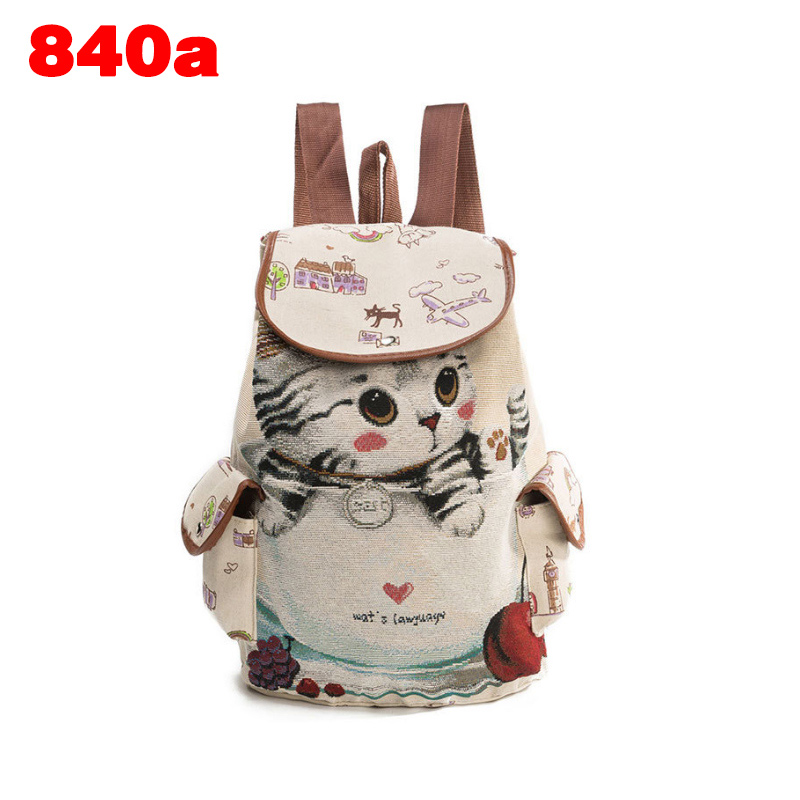 Hot Sale Ladies Casual Travel Backpack Teenager Girls School Bag Big Capacity Fashion Women Canvas Cute Cat Printed Shoulder Bag hot sale ladies classic handbag big volume casual bag for women fashionable
