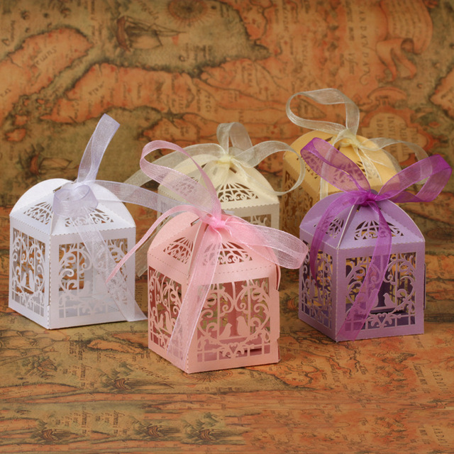 Us 45 7 200 X Small Love Birds Laser Cut Favor Box Baby Shower Baptism Decor Gift Boxes In Gift Bags Wrapping Supplies From Home Garden On