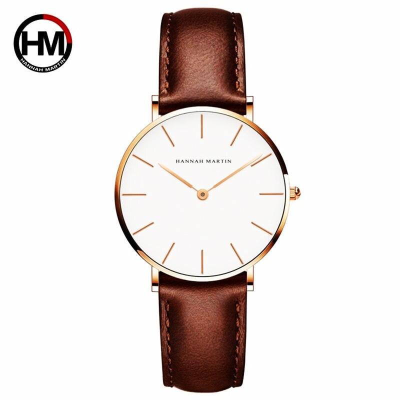 Japan Bewegung Braun Leder horloges women Weiß Zifferblatt Frauen DW Marke Luxus Wasserdichte Uhr relogio feminino zegarek damski