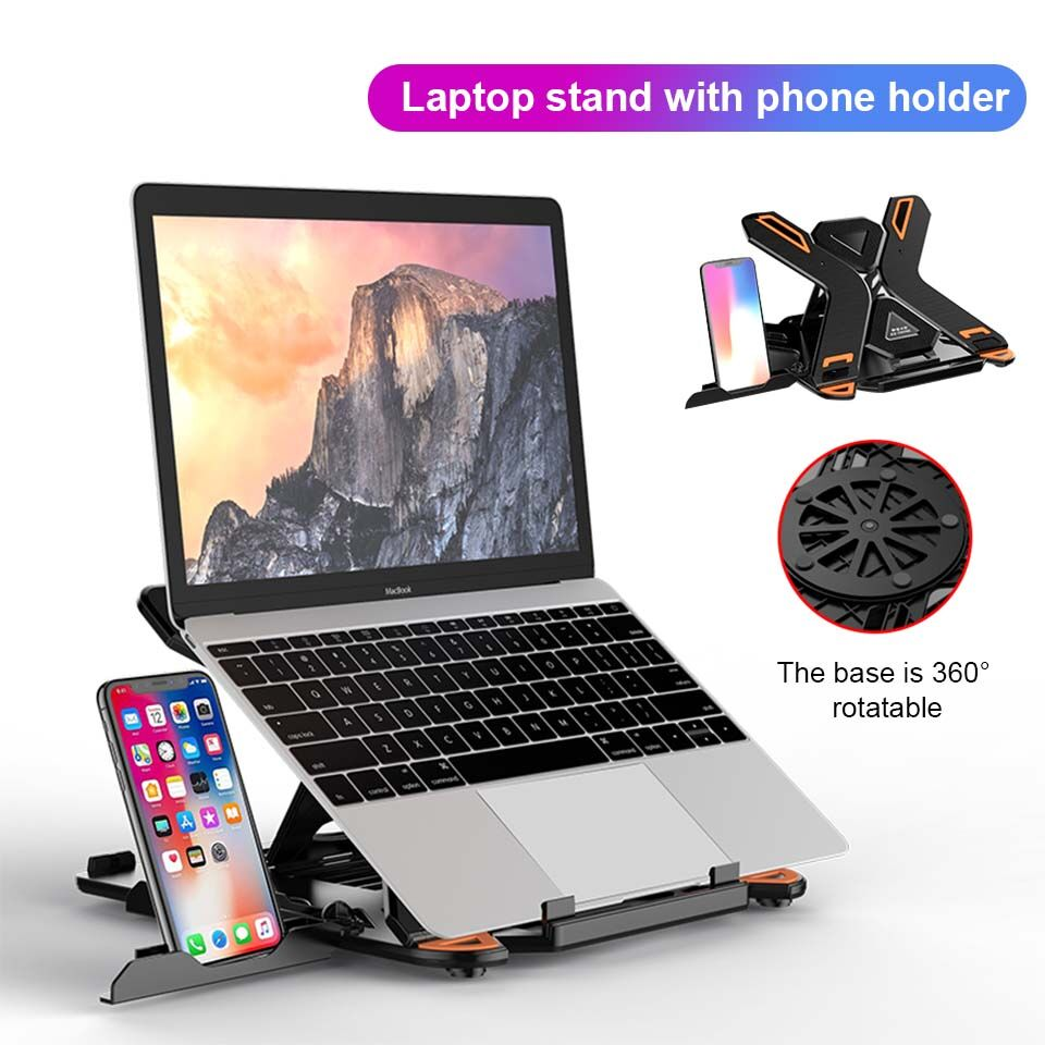 Foldable Notebook Riser Holder 8 Height Adjustable Ventilated Lightweight Anti-slip Laptop Stand for Mac Pad Tablet Kindle