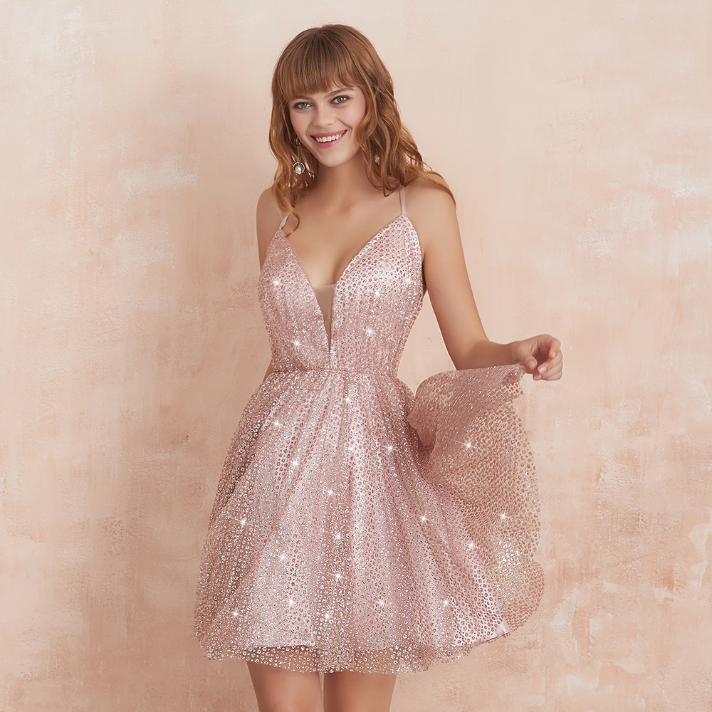VKbridal Cross Back A Line Tulle Graduation Party Dresses Sparkle Cocktail Gowns Short for Junior Homecoming Dresses 2019
