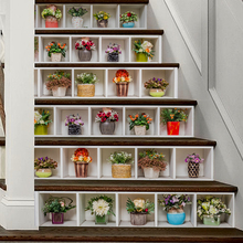 6pcs/set Potted Flower Plant Stair Stickers 3D Waterproof Removable Self-adhesive18*100cm
