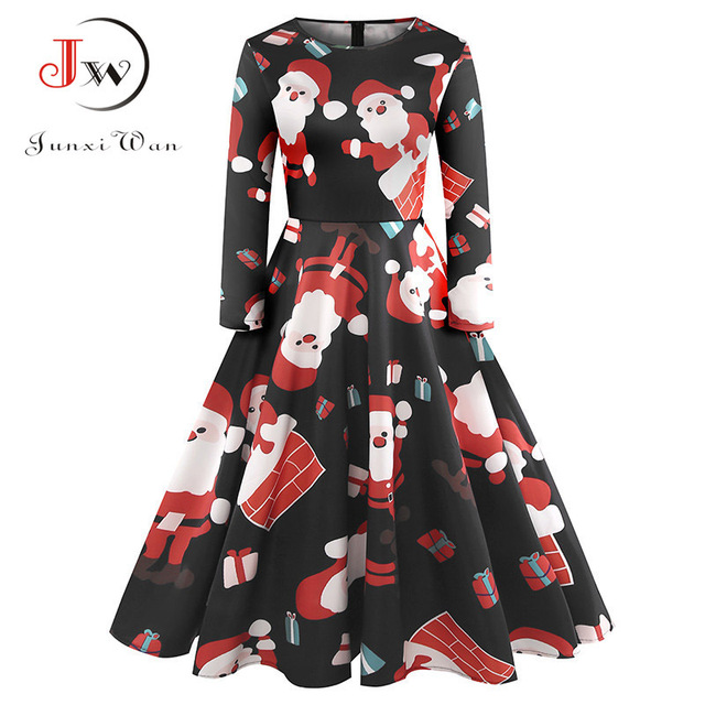 da057a1bd6f0 Long Sleeve Winter Dress Women Print Vintage Christmas Dress Elegant Casual  A-Line Party Office