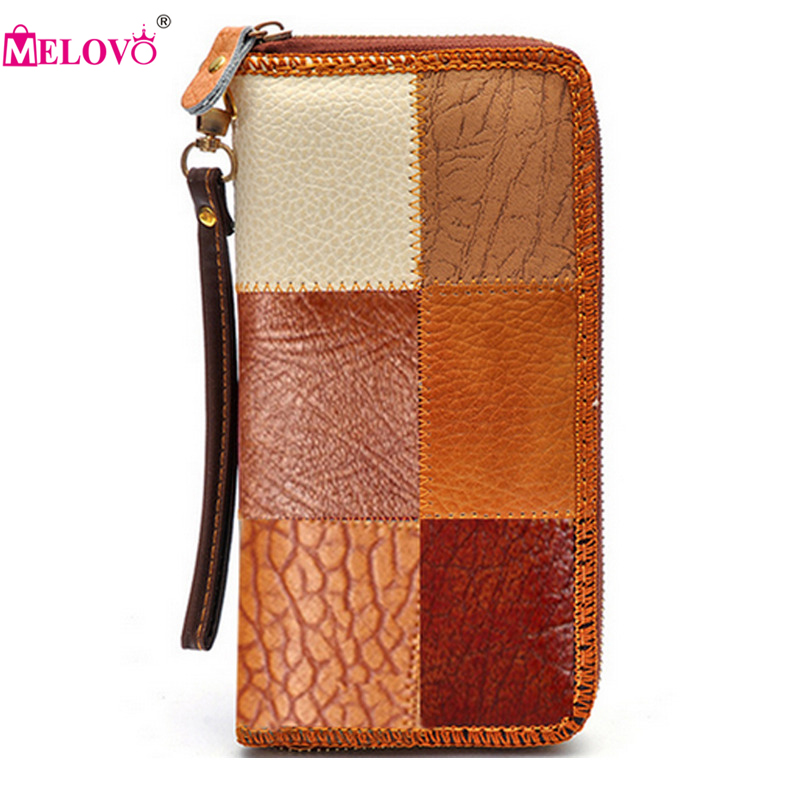Unisex Genuine Leather Vintage Wallets Color Patchwork Long Day Clutches Purse Wrist Hand Mobile Phone Bags P30