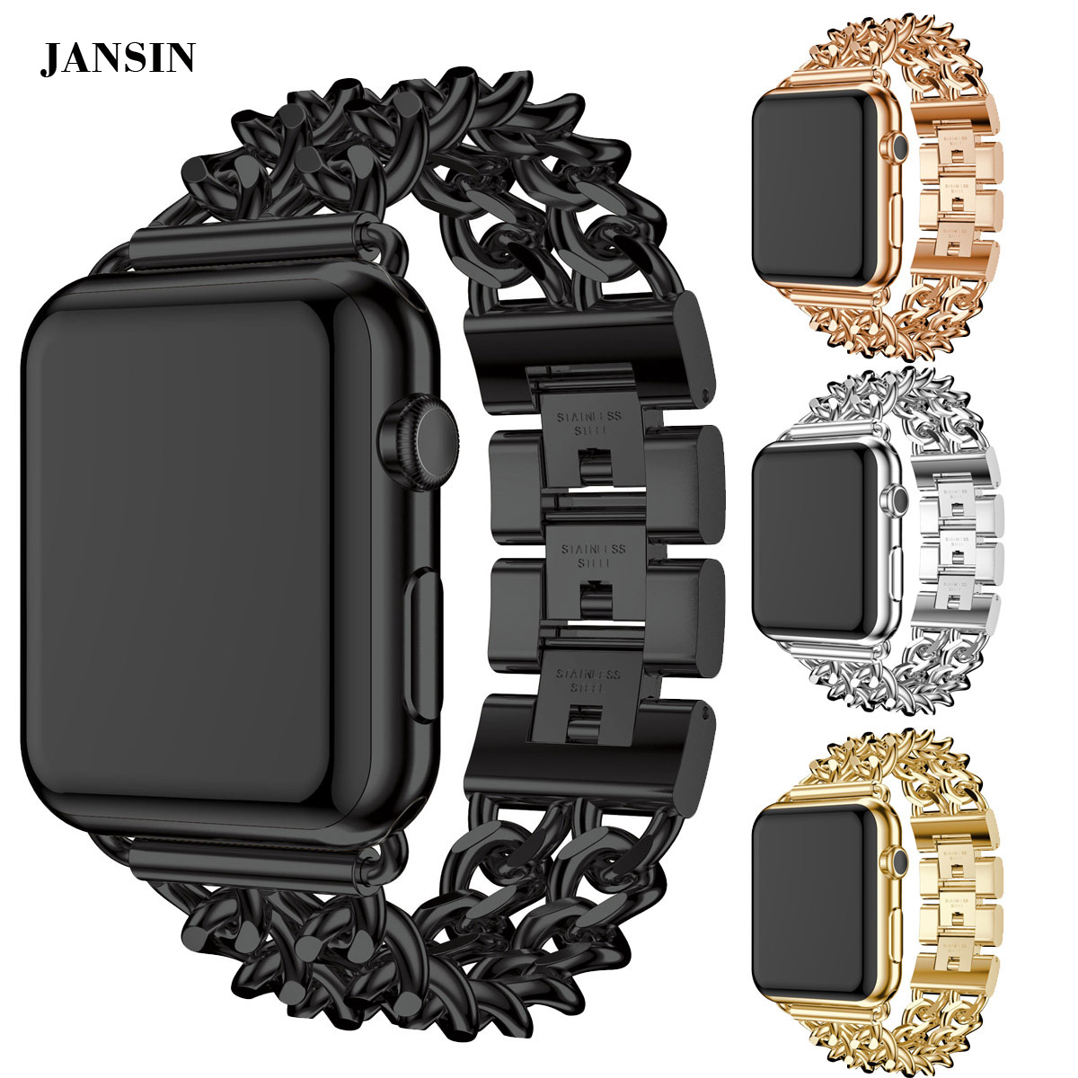 Galleria fotografica JANSIN Link Bracelet Band For Apple Watch 38mm 42mm Stainless Steel strap wristband Metal Band for iWatch Series 3 2 1