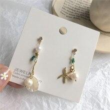 Korean Fashion Long Asymmetrical Seashell Starfish Dangle Earrings Cute Acrylic Beads Pearl For Women Jewelry Girl Gift