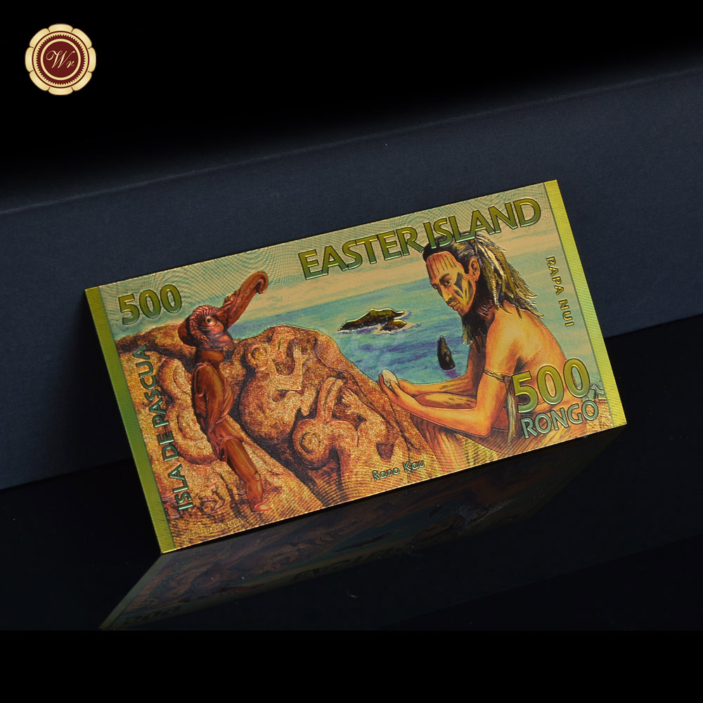 Fine Quality Gold Banknote Album Coin Color Easter Island Collection As Business Gifts