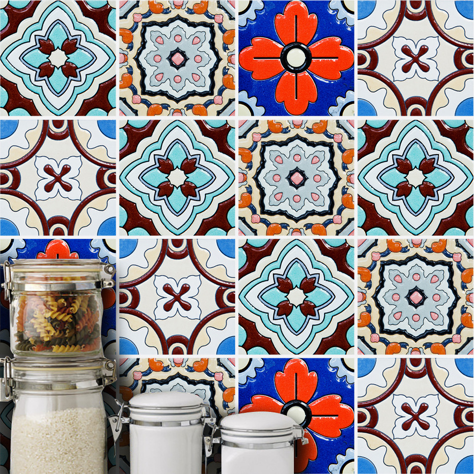 - Funlife Turkish Tiles Wall Sticker,Oil Painting Style Home Decal