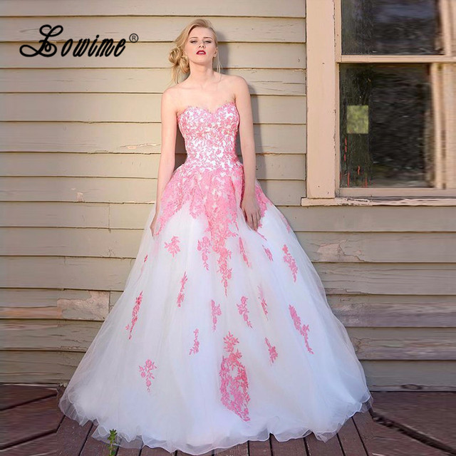 5312966e1f11 Pretty Ball Gown Prom Dresses Abendkleider 2017 Pink Lace Applique Formal  Dress Sweetheart White Tulle Graduation