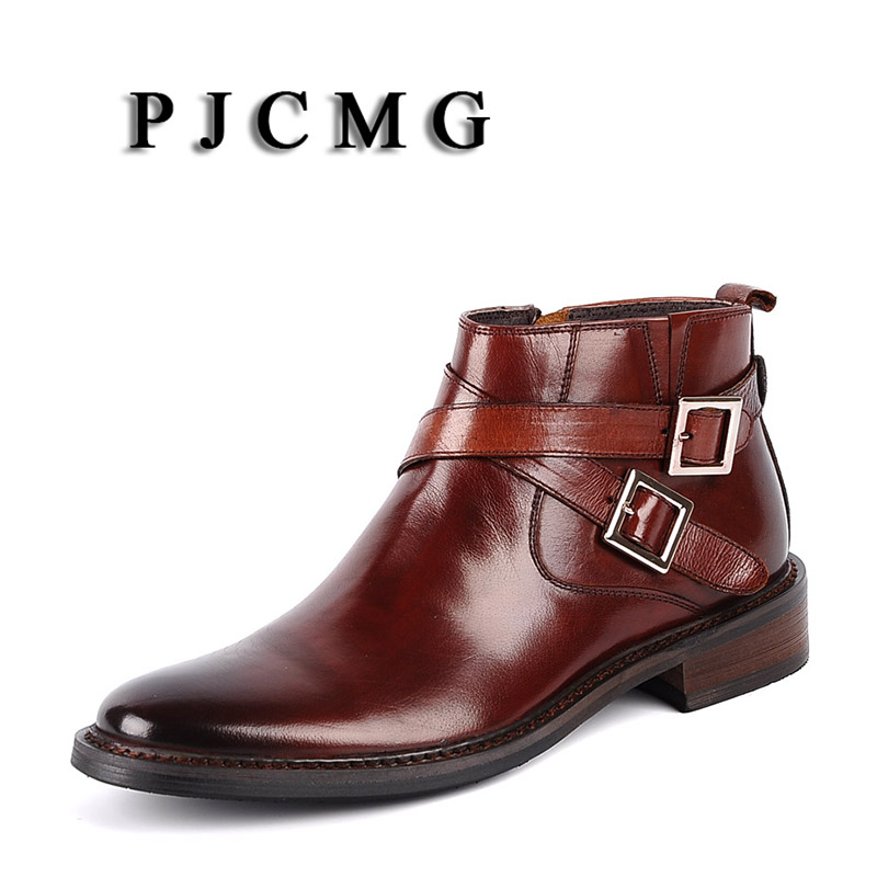 PJCMG New Pointed Toe Buckle Strap Ankle Boots Men Hombre Genuine Leather Men Motorcycle Boots For Men Work High Top Men Shoes - 4