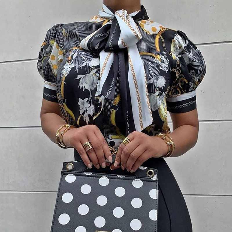 Rétro élégant noir Floral lanterne Blouse grande taille femmes Vintage bureau dames col roulé arc à lacets été hauts 2019 chemises