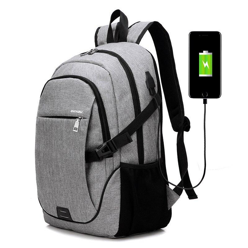 MIWIND USB Laptop Backpack Multifunction Travel Bags Waterproof Oxford Black School Bags Teenager College Backpack Men