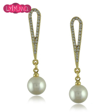 Temperament Long Section of Simulated Pearl Earrings Gilded Drop Earrings Long Ear For Girl and Women Wondful Party Fine Jewelry