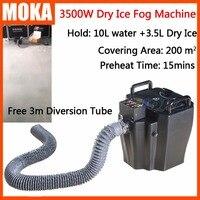 1 Pçs/lote 3500 w dry ice machine com pouca terra fog machine stage efeito festa máquina máquina de fumaça de gelo seco efeito 3 m mangueira de água