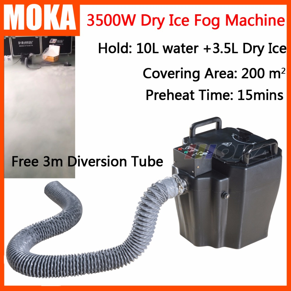 1 Pcs/lot 3500w dry ice machine low ground fog machine stage effect party machine water smoke machine dry ice effect 3m hose недорого