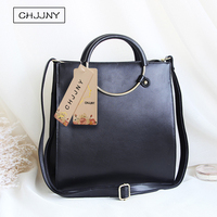 CHJJNY korean 2017 newest simple cow leather women bag vintage genuine leather metal handle bags with ring strap belt bag