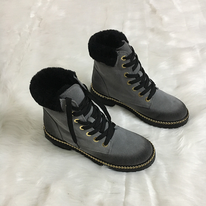 New Black Chain Decoration Lace Up Platform Women Winter Martain Boots Suede Cross-tied Round Toe Solid Chaussures Bottes Female ankle black solid cross tied winter martain boots zipper design suede british style botas femeninas walkway casual shoes women
