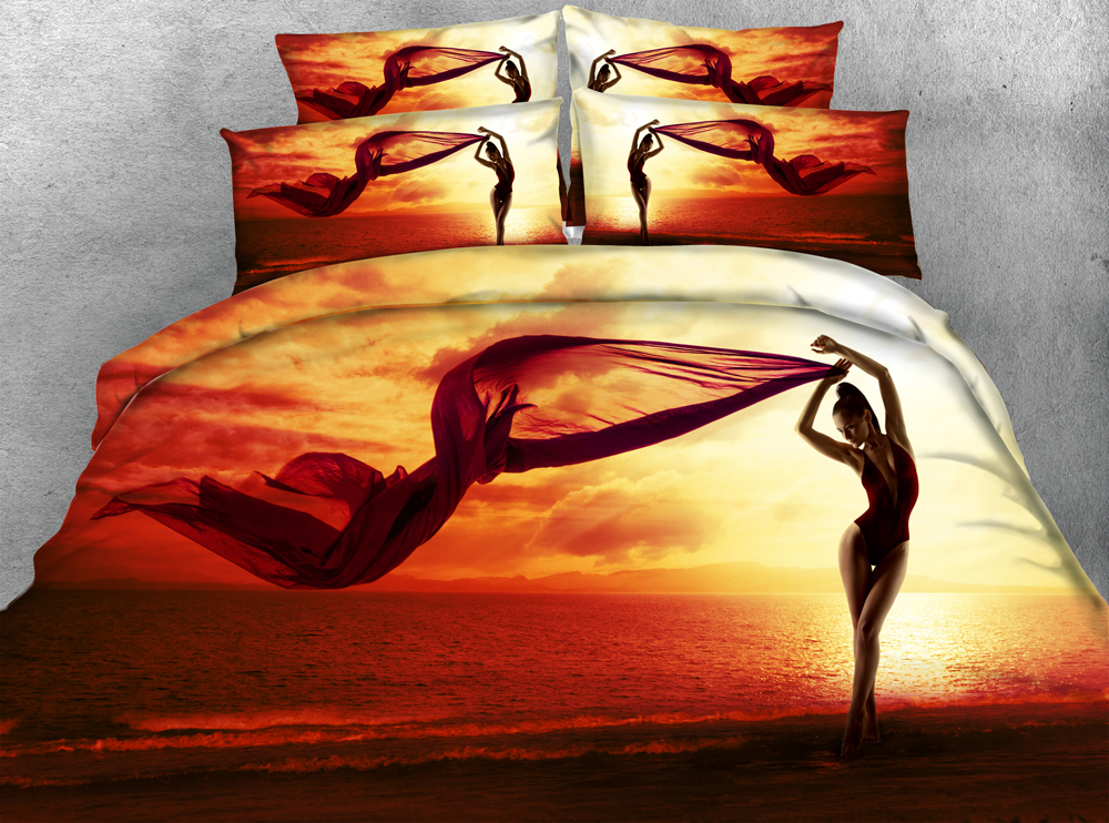 3D Printed Bedding Sets Twin Full Queen Super Cal King Size Bed Bedspread  Comforter Duvet Covers Girl Sunset Beach Ocean Sceney