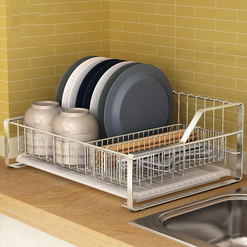Stainless Steel Dish Rack Countertop Drain Dish Dryer Kitchen Rack Storage Racks Kitchen Supplies