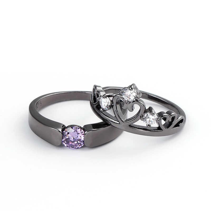 Elegant Peridot Purple Ring Set Black/White Gold Filled Wedding Engagement Rings For Women Top Fashion Jewelry Bridal Sets Anel