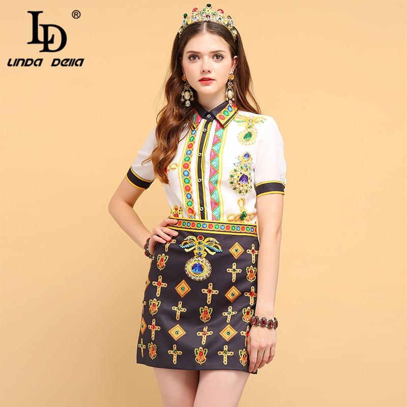 LD LINDA DELLA  Fashion Summer Sets Suits Women's Short Sleeve Crystal Beading Shirt And Elegant Vintage Mini Skirts Two Pieces
