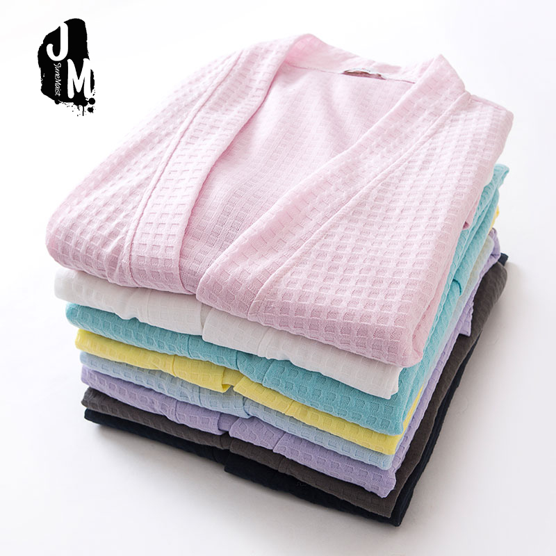 Towel Bath Robe Dressing Gown Unisex Men Women Solid Cotton Waffle Slee