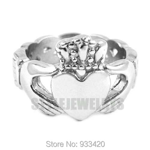 Free shipping! Irish Claddagh Style Hand to Hold a Heart with Crown stainless steel Ring SWR0023B