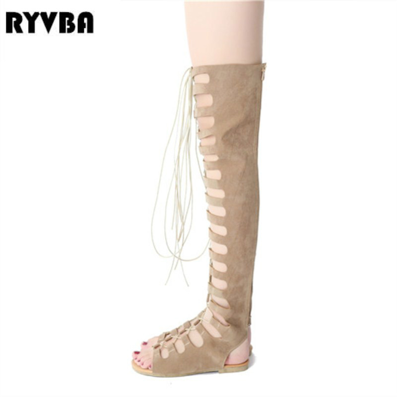 RYVBA womens nubuck over the knee boots women flat thigh high summer boots 2018 woman corss tied flats HOT sandals ladies shoes