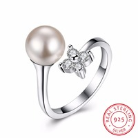 Women S Pearls AAA CZ 925 Sterling Silver Rings For Banquet Party Top Quality Opening Elegant