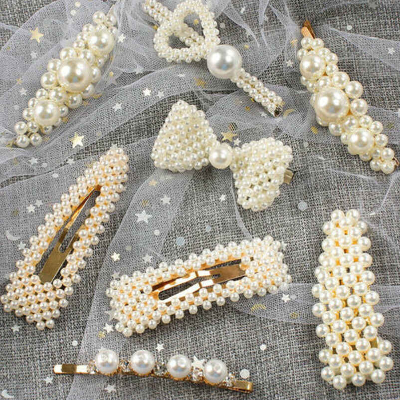 2 PCS Elegant Fashion Pearl Hair Clip Women Korean Design Snap Barrette Stick Hairpin Hair Styling Accessories