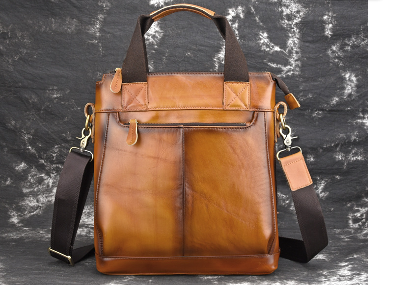 Vintage Men Genuine Leather Briefcases Male Shoulder Cross Body Business Bags Students High Capacity Messenger Satchels D823(China)