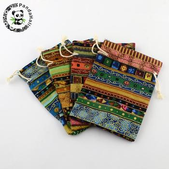 150pcs Ethnic Style Cloth Packing Pouches Drawstring Bags, Rectangle, Mixed Color, 17.5x12.5cm