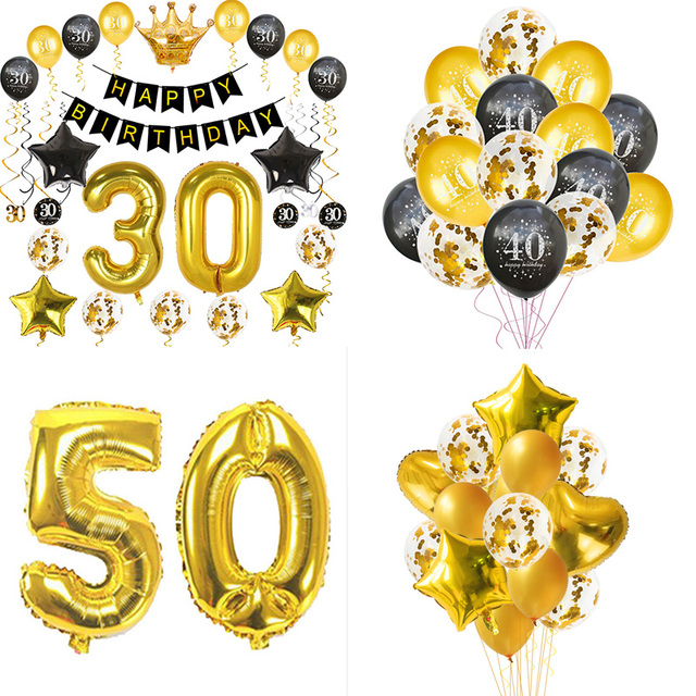 WEIGAO 30th 40th 50th Birthday Balloons Giant Number Foil Happy 30 40 50 Party Decoration Adult Balls Balony