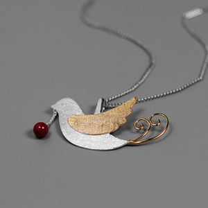 Image 2 - 蓮楽しいリアル 925 スターリングシルバー手作りのクリエイティブフライング鳥果物ネックレスなし女性のための