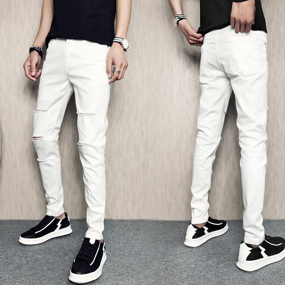 White Ripped men's Jeans 1