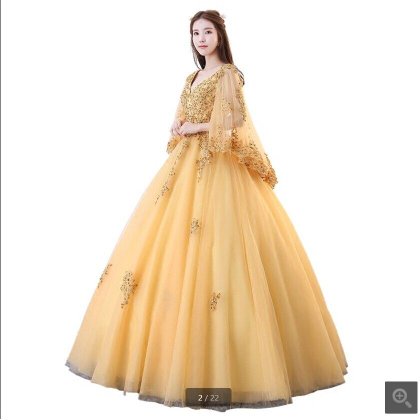 Nouveauté or dentelle appliques robe de bal modeste col en v avec cape robe de bal femmes musulmanes élégant perlé paillettes robes de bal 2019