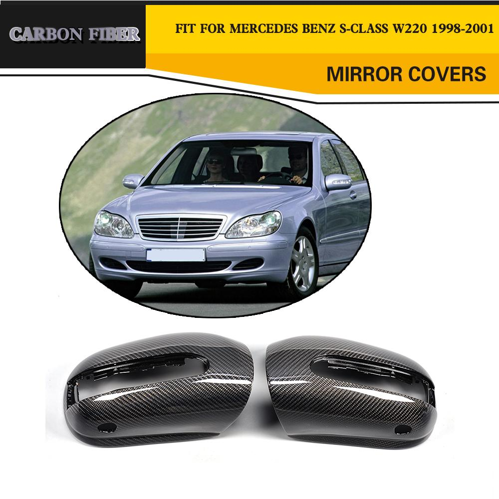 Car Styling Carbon Fiber Replacement Mirror Covers Caps For <font><b>Benz</b></font> S-Class <font><b>W220</b></font> S600 <font><b>S500</b></font> S350 S320 S280 LHD 1998-2001 image
