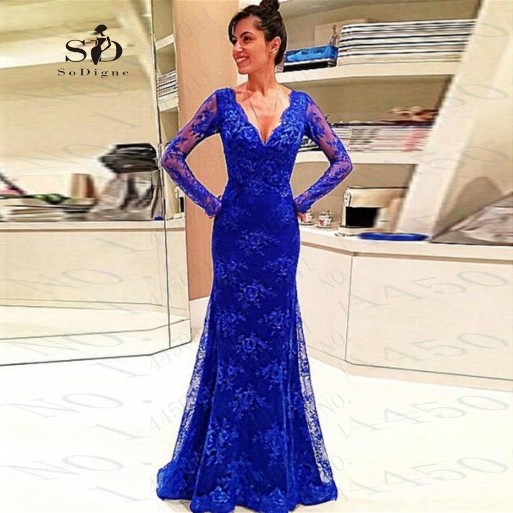 Baratos Fotos reales de Color Azul Marino Vestidos de Noche Vestido ...