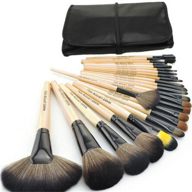 Professional 24 pcs Makeup Brush Set tools Make-up Toiletry Kit Wool Brand Make Up goat hair Brushes Set pinceaux maquillage 2 layer 36 holes art pen pencil case box students stationary zipper storage comestic make up brush organizer bag school supplies