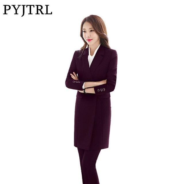 Pyjtrl Office Uniform Designs Autumn Winter Fashion Long Jacket