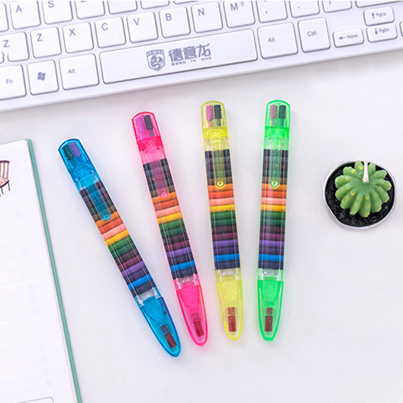 Купить с кэшбэком EZONE 1PCS Colorful 20 Colors Oil Paint Pen Cratons Stacker Pencils Drawing  Pen Art Painting Gift for Children Kids Oil Pastel