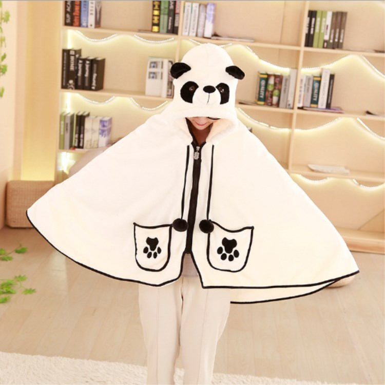 Sweet Cartoon Giant Panda Cape Sweatshirt Cute Air Conditioning OfficeLunch Break Lazy Napping Blanket Cloak  Sweatshirt