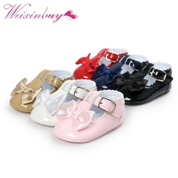 Newborn Baby Girls Shoes PU leather Buckle First Walkers Red Black Pink White Blue 1