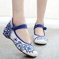 Plus Size 41 das Mulheres da Moda Sapatos Flats Sapatos Casuais Bordados Azul e branco Mary Janes Sola Macia Pano Curta sapatos