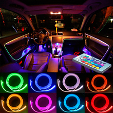 цена на 4 meters RGB Ambient Light Car Remote Control Atmosphere Light Lamps Neon Strip DIY 8 Colors for Car Interior Decorative Lights
