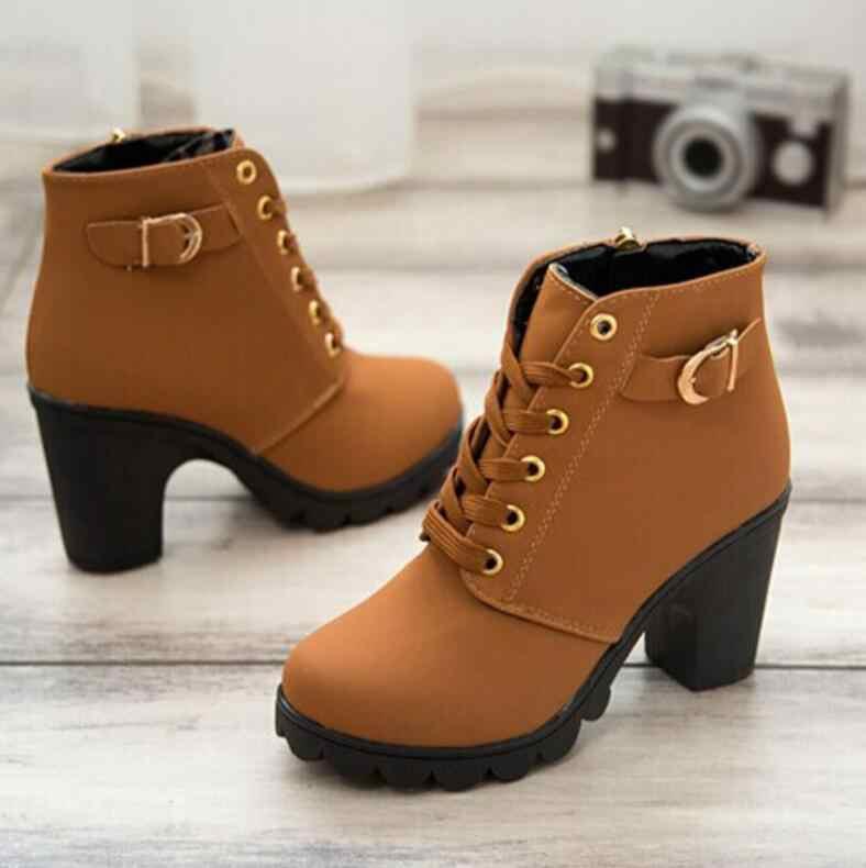 2019 Nieuwe Herfst Winter Vrouwen Laarzen Hoge Kwaliteit Solid Lace-up Europese Dames schoenen PU Mode hoge hakken Laarzen grote maat 35-43