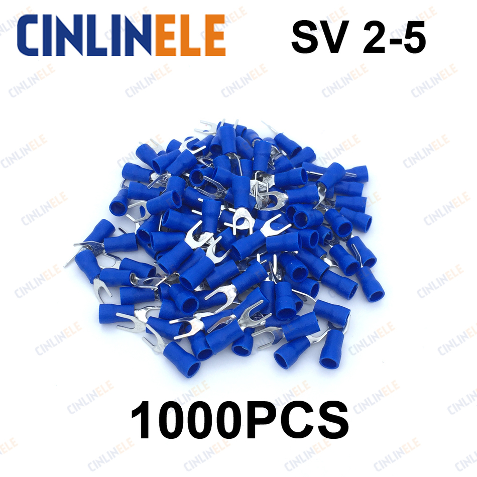 20PCS Fork Spade Wire Connector Electrical Crimp Terminal 14-16AWG 4mm@@