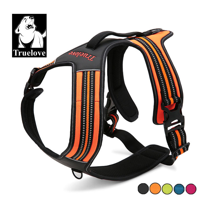 Truelove Nylon Dog Harness Large Small Leather Reflective Pet Harness Quick Control For Pitbull Adjustable Easy