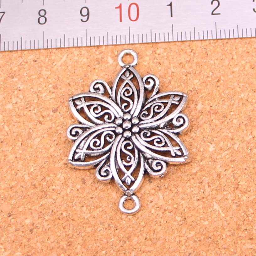32Pcs Antique Silver Plated flower connector Charms Diy Handmade Jewelry Findings Accessories 39*28mm